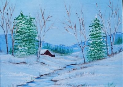 W-0064 WINTER CABIN BY THE STREAM