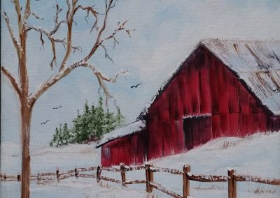W-0065 WINTER BARN (BARE TREE)