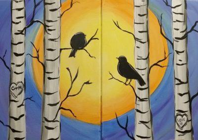 FW-0041 COUPLES NIGHT-BIRCH TREES