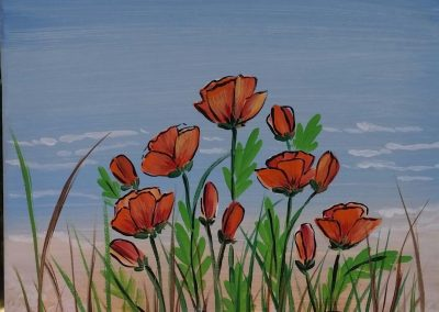S-0047 POPPIES BY THE SEA