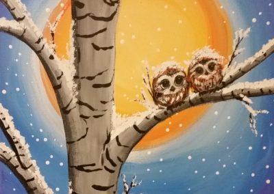 W-0073 TWO LITTLE SNOW OWLS